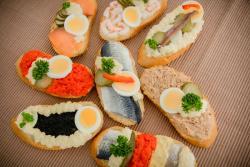 Abbildung von Sandwiches gemischte Sorten nur Fisch